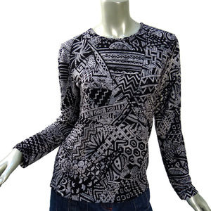 Chico's Knit Top Abstract Block Paint Black White